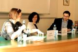 Zleva bohemistka Libuše Heczková, Vanda Obdržálková (překladatelka a vysokoškolská pedagožka) a Stanislav Rubáš (ředitel Ústavu translatologie FF UK v Praze a překladatel)